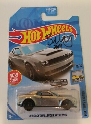 Hot Wheels 2018  Zamac Dodge Challenger SRT Demon Signed by Brendon Vetuskey