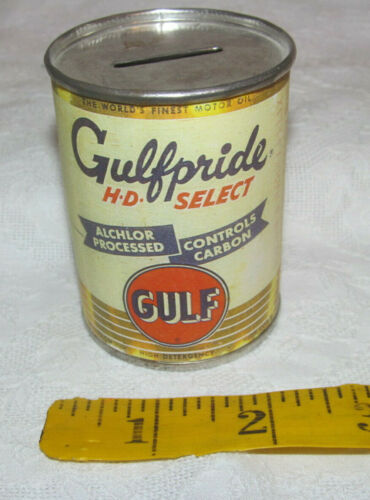 """GULFPRIDE HD SELECT Vintage Miniature Gulf Oil Can Bank w/Paper Label 3"""" tall"""