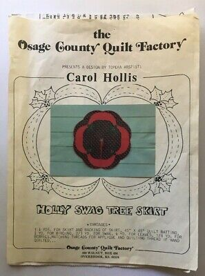 """Osage County Quilt Factory """"HOLLY SWAG"""" Christmas Tree Skirt Pattern Vintage"""