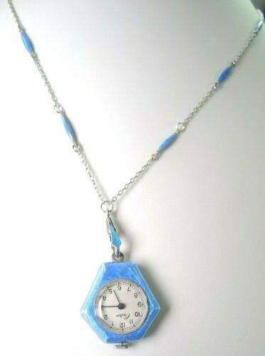 Edwardian Guilloche Enamel Swiss Criton Pendant Watch With Chain 17 Jewel Silver