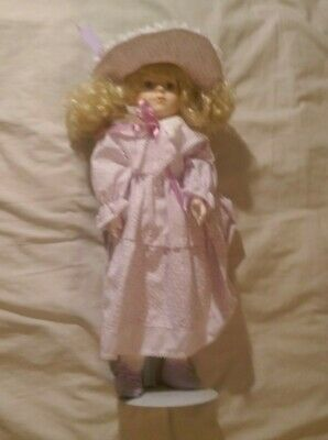"PORCELAIN HAND PAINTED 16"" DOLL with Stand, used for sale  Shipping to India"
