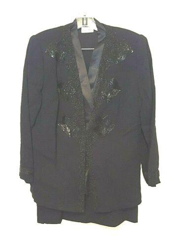 Vintage NOLAN MILLER Black WOOL 3-Pc. Skirt Suit Embellished jacket Sz 16 Large