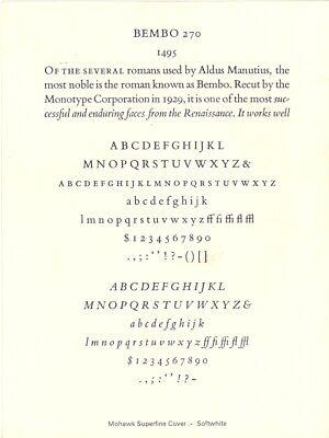 New Letterpress Type - 10pt. Bembo