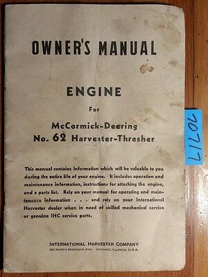 Ih International Mccormick-deering 62 Harvester-thresher Engine Manual 5190 641