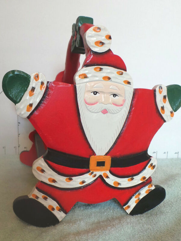 Santa Wooden Christmas Decor Basket For Decorations or Cards