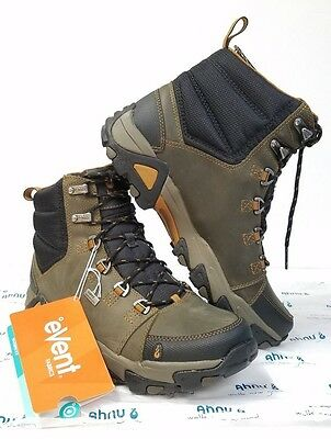 Men's Ahnu Coburn Hiking Boot, Dark Olive Waterproof eVent Size 8 US Leather