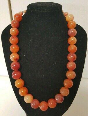 60s -70s Jewelry – Necklaces, Earrings, Rings, Bracelets Vintage 44cm 1960s Orange Carnelian Colour Big 14mm Bead Lucite Necklace 35grams $25.86 AT vintagedancer.com