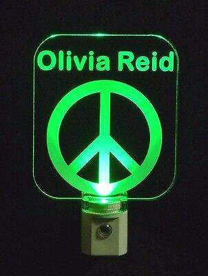 Peace Sign Night Light (Personalized Custom Retro Peace Sign LED Night Light -with Name  3/8