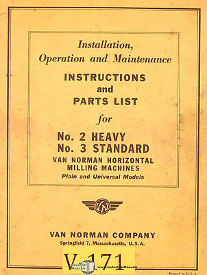 Van Norman 2 And 3 Milling Operations And Parts Manual