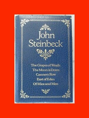 ☆BLUE LEATH BOOK%JOHN STEINBECK-GRAPES WRATH+MICE MEN+EAST EDEN+CANNERY ROW+MOON