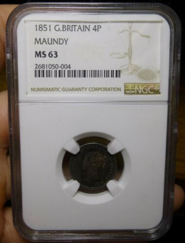 GREAT BRITAIN 1851 FOUR PENCE 4P MAUNDY NGC MS63