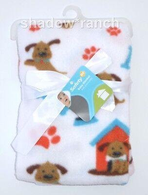 NWT Safety 1st First Brown Puppy Dog House Bone Paw Print White Fleece Blanket