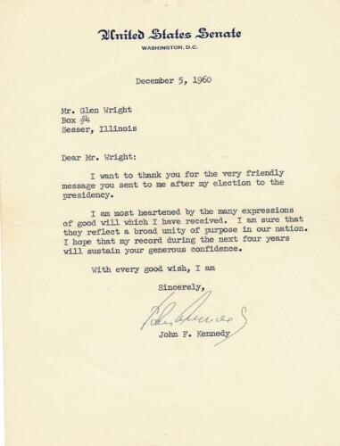 John F. Kennedy - Secretarial Signed Letter from 1960