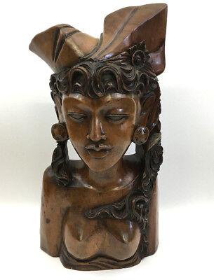 Quality Vintage Carved Hardwood Bust Figure of a Native Lady (lot 1)