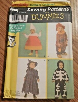 Witch Costume For Toddlers (NEW Simplicity Costume Pattern for Dummies 4908 Toddler sz 1/2-4)
