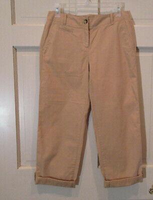 NWT Talbots Womens Pants Size 4P Petite Boyfriend Crop Tan Cotton Roll Tab NEW