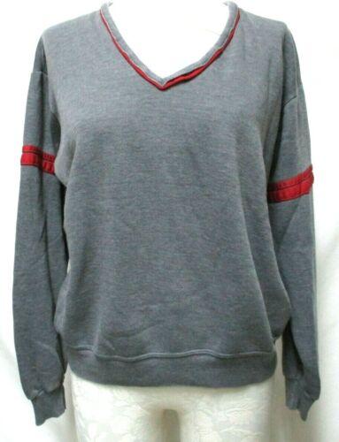 Bassett Walker Vintage gray w/ red stripes Sweatshirt Top Size Sz Large Lg L