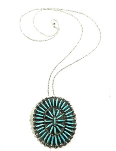 D.J. Ghahate Signed Zuni Petit Point Turquoise & Sterling Silver Pendant/Brooch