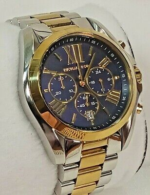 Michael Kors Bradshaw Mens Ladies MK5976 Blue Dial Chronograph Watch New Battery