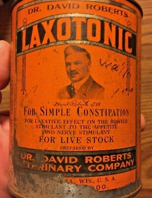 ANTIQUE TIN DR. DAVID ROBERTS VETERINARY CO LAXOTONIC FOR LIVE STOCK WAUKESHA WI