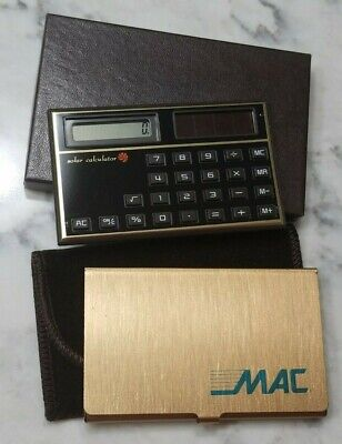 Vintage 1970s MAC Machine ATM Solar Calculator Business Card Holder Brass for sale  Shipping to India