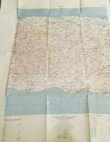 VINTAGE Map of PONCE  Puerto Rico, ARMY MAP 1963 LARGE WALL ART 31 X 42