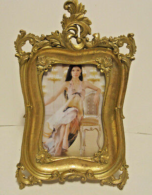 """Gold Antique Looking Leaf Ornate Victorian Style 4""""x6"""" Picture Photo Frame"""