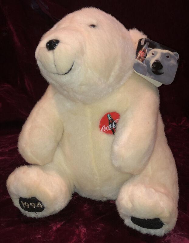 """VINTAGE 1994 Coca Cola Coke 11"""" White Christmas Polar Bear Teddy Tag Plush Toy!!"""