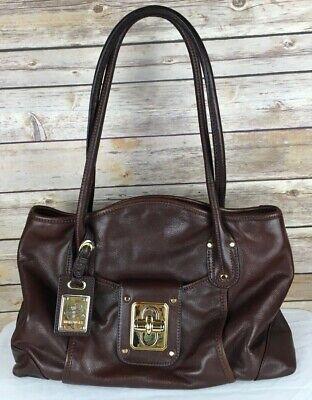B. Makowsky Dark Brown Glove Leather Dual Compartment Satchel Shoulder Bag