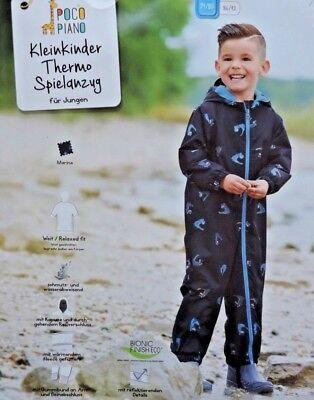 Kleinkinder Thermo Spielanzug Jungen Wasserabweisend Regenanzug gefüttert NEU ()