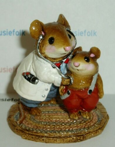 Wee Forest Folk VINTAGE M-055 DOC MOUSE & PATIENT miniature mouse figurine