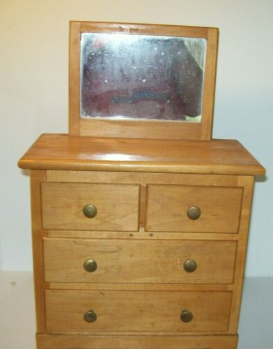 Wood Doll Dresser Bureau Four Drawers with Mirror Handmade Vintage