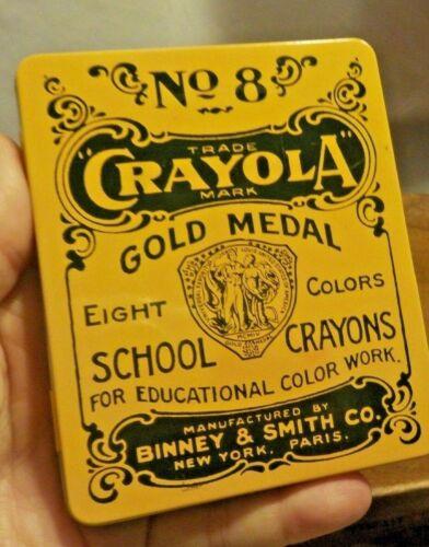 Vintage Style Crayola Binney & Smith No. 8 School Crayons In Metal Tin 2000