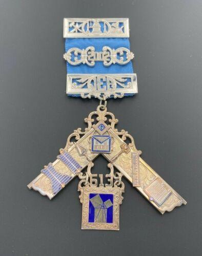 MASONIC PAST MASTER STERLING SILVER 925 2002 JEWEL LODGE MEDAL W/ BLUE RIBBON