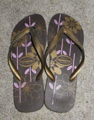 HAVAIANAS brown gold and pink floral Flip flops sandals US 11 Brazil 41/42 EUC