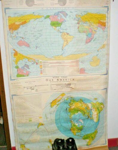 Vintage 1956 Wesley Social Studies Color Map of the World