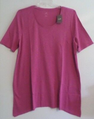 NWT-J JILL SS PIMA DIPPED HEM TUNIC/TOP-XL-DRAGON FRUIT PINK-$59-SOFT-SO (Dragon Tunic)