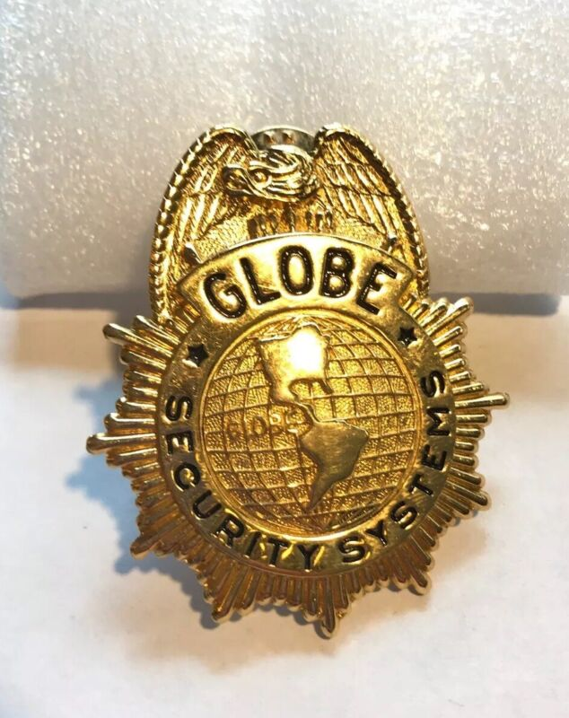 Vintage GLOBE SECURITY SYSTEMS Badge Pin Excellent Preowned