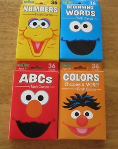 Sesame Street Flash Cards NEW Lot of 4 ELMO ABC Numbers Words Colors