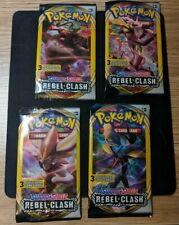 4x Rebel Clash sealed 3 pack sampling booster pack art set Pokemon cards USA exc