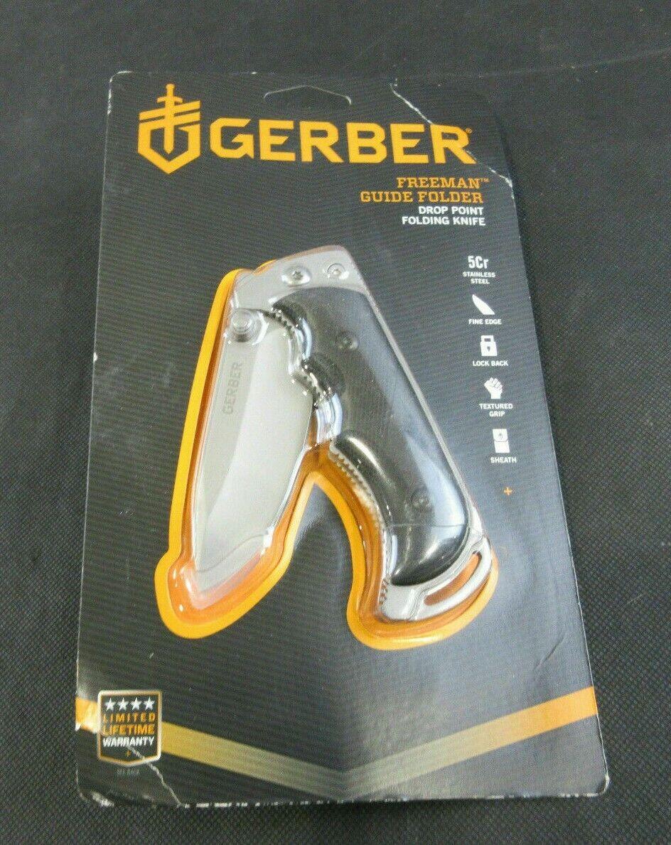 NEW Gerber Freeman Guide Folding Knife Plain Edge w/ Sheath