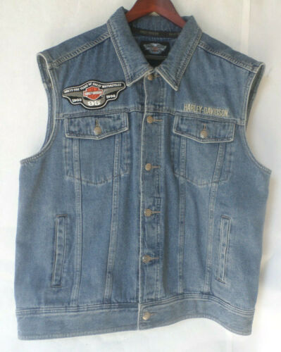 Mens Harley Davidson Motorcycle Blue Denim Bar & Shield Vest + 95th Patch XL