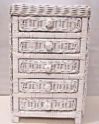 Vintage Style White Baby Doll 5 Drawer Chest Wicker Toy