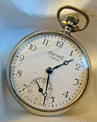"""INGERSOLL YANKEE"" Silver-Tone W/White Face WIND-UP POCKET WATCH. Running USA."