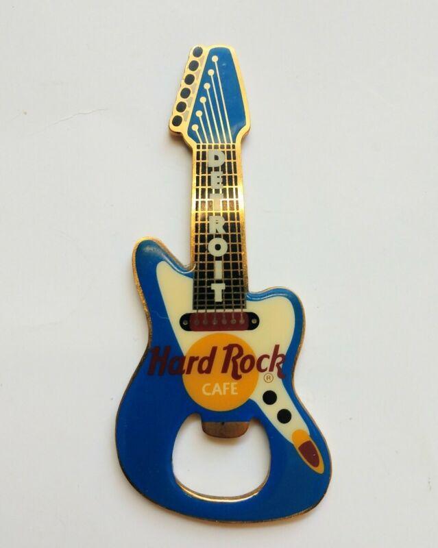 VTG Hard Rock Cafe Detroit Brass Blue Guitar Refrigerator Magnet Bottle Opener