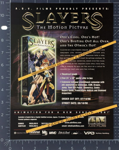 SLAYERS: The Motion Picture__Original 1998 Trade print AD / anime video promo