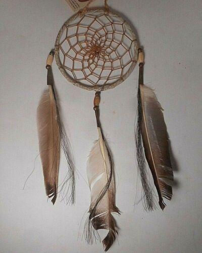 "Native American Navajo Leather Dream Catcher Collectible 4"""