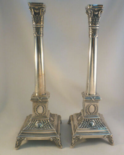 Pair of Beautiful Polish Sterling Footed Candlesticks-12""