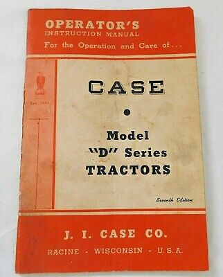 Case Model D Series Tractor Operators Instruction Manual Form 5294 10m 9-49