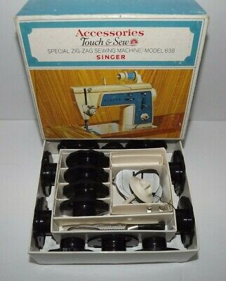 Vintage Singer Model 638 Touch & Sew Zig Zag Sewing Machine Accessories In Box